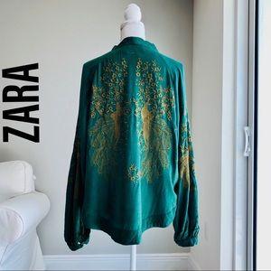 ZARA Hunter Green Embroidered Cardigan